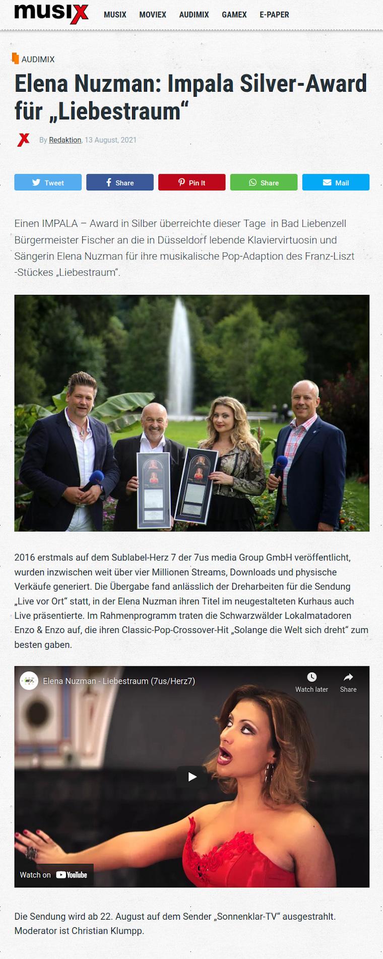 Elena Nuzman - News - Musix.de - IMPALA Silver-Award - August 2021