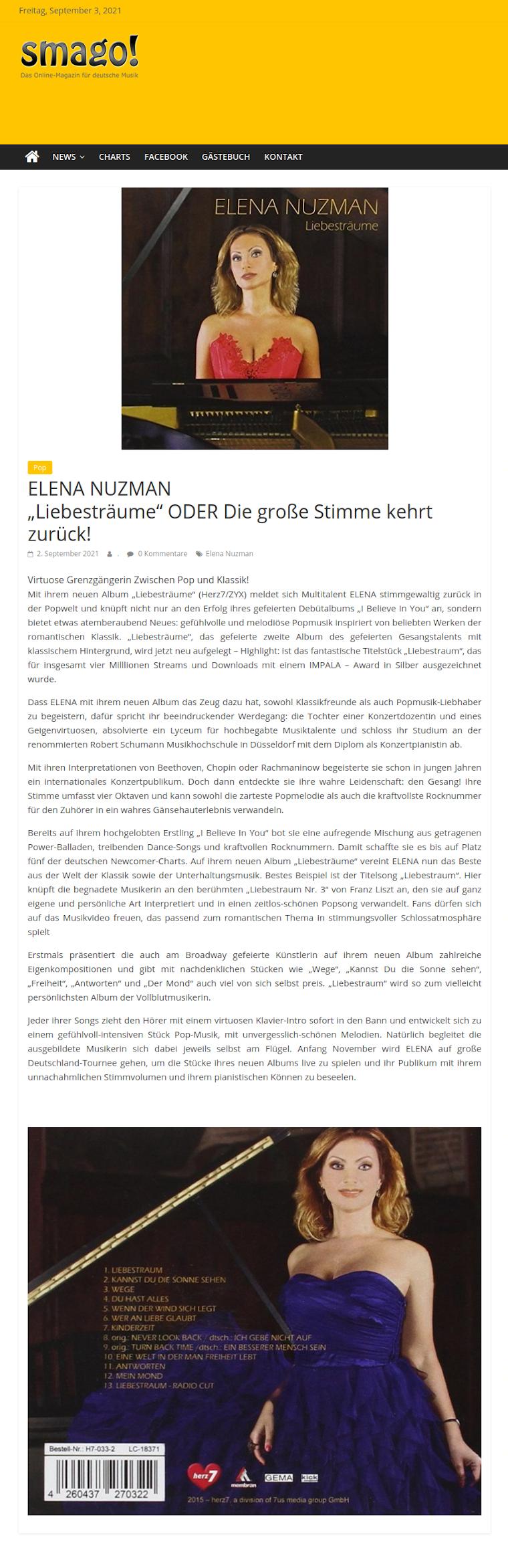 Elena Nuzman - News - smago.de - September 2021