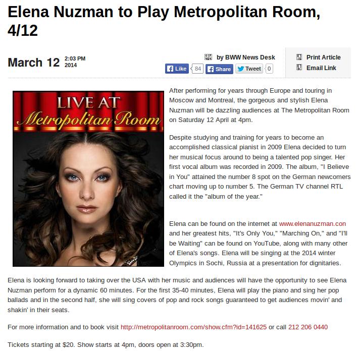 Elena Nuzman - broadway.com - March 2014