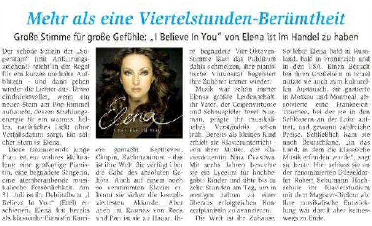 Elena Nuzman - Hellweger Anzeiger - August 2009