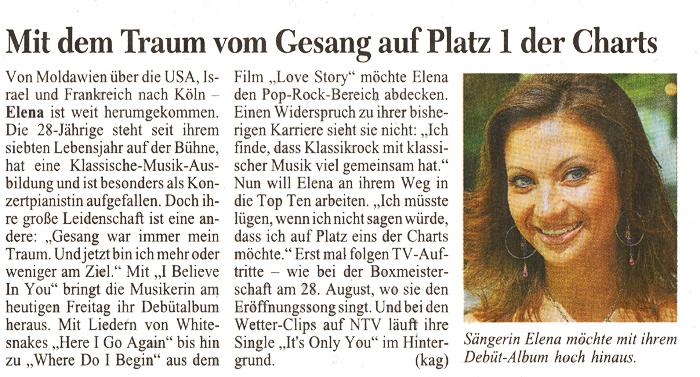 Elena Nuzman - Kölner Stadt-Anzeiger - Juli 2009