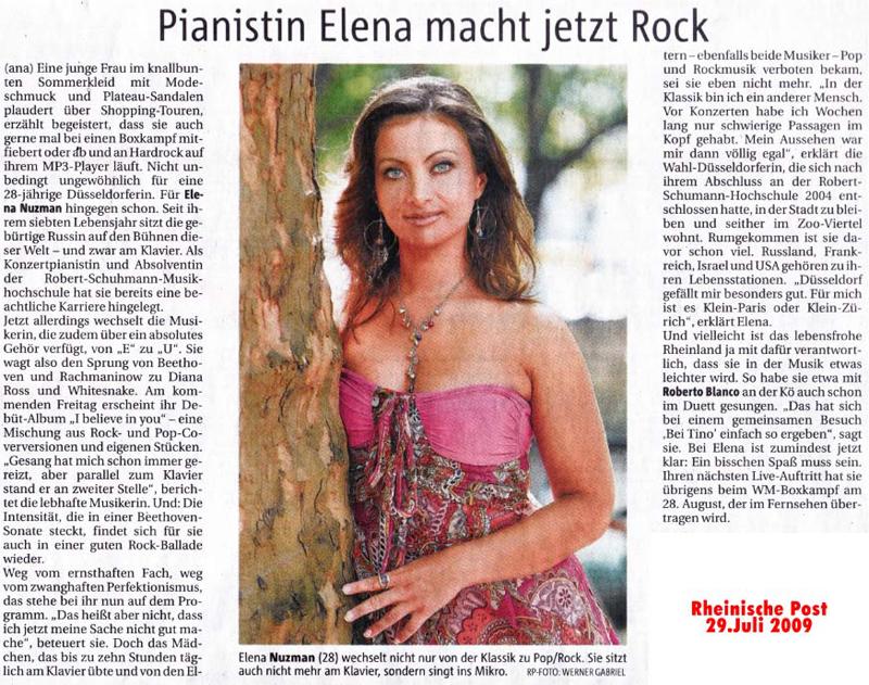 Elena Nuzman - Rheinische Post - Juli 2009